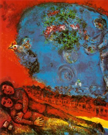 Lovers on a Red Background by Marc Chagall