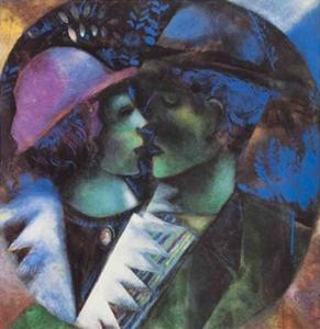 The Lovers in Green by Marc Chagall