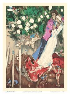 The Three Candles - Floating Angels by Marc Chagall