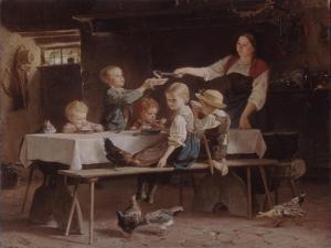 Kids at Lunch, 1857 by Marc Louis Benjamin Vautier