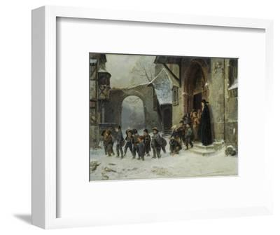 Young Boys Leaving a Church School Building onto a Snow Covered Courtyard, c.1853