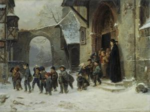 Young Boys Leaving a Church School Building onto a Snow Covered Courtyard, c.1853 by Marc Louis Benjamin Vautier
