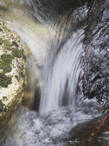 A Small Waterfall Cascading over Boulders in a Creek by Marc Moritsch