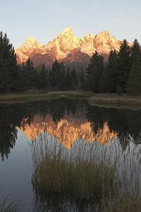 Sunrise Sunlight on the Teton Range and their Reflection in the Snake River by Marc Moritsch
