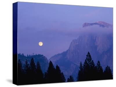 The Moon Rises over Half Dome in Yosemite National Park