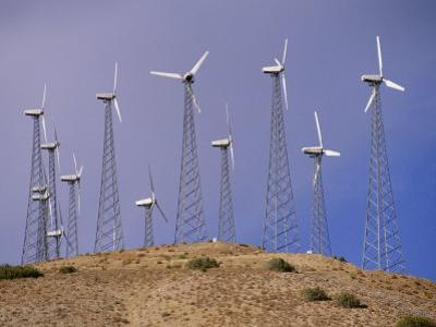 View of Windmills on a Wind Energy Farm