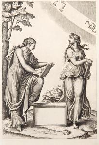 Les deux femmes au Zodiaque by Marcantonio Raimondi