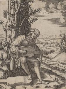 The Guitar Player by Marcantonio Raimondi