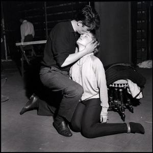 Alain Delon and Romy Schneider Kissing by Marcel Begoin