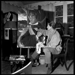 Jean Marais Painting His Selfportrait by Marcel Begoin