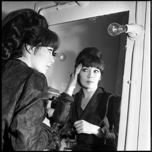 Juliette Greco Preparing to Go on Stage by Marcel Begoin