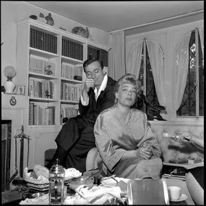 Simone Signoret and Her Husband Yves Montand by Marcel Begoin