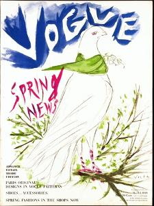 Vogue Cover - March 1949 by Marcel Vertes