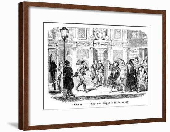 March - Day and Night Nearly Equal, 19th Century-George Cruikshank-Framed Giclee Print