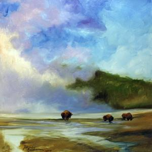 Yellowstone Buffalo Landscape by Marcia Baldwin