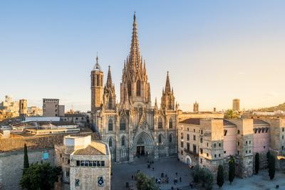 Barcelona, Catalonia, Spain, Southern Europe. High angle view of the old Cathedral of the Holy Cros