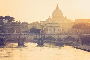 Rome, Lazio, Italy. St Angel Bridge at Sunset. by Marco Bottigelli