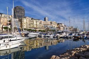 Boats moored in the harbour of Monte Carlo, Monaco, Cote d'Azur, Mediterranean, Europe by Marco Brivio