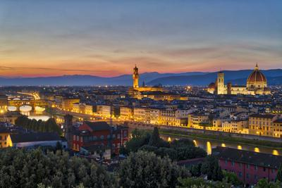 Panoramic view of Florence at sunset, Tuscany, Italy, Europe