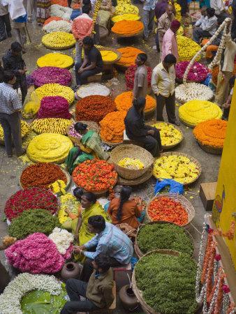 Flower Necklace Sellers in City Market, Bengaluru, Karnataka State, India