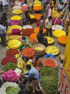 Flower Necklace Sellers in City Market, Bengaluru, Karnataka State, India by Marco Cristofori