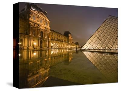 Palais Du Louvre Pyramid at Night, Paris, France, Europe