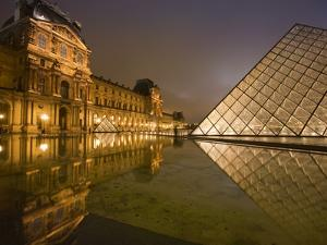 Palais Du Louvre Pyramid at Night, Paris, France, Europe by Marco Cristofori