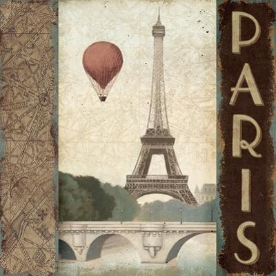 City Skyline Paris Vintage Square by Marco Fabiano
