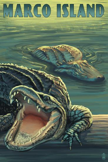 Marco Island - Alligators-Lantern Press-Wall Mural