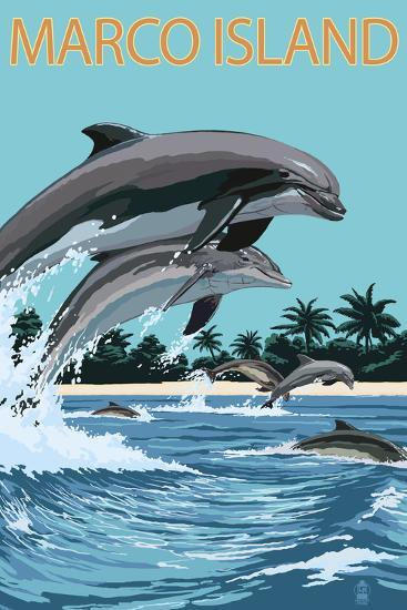 Marco Island - Dolphins Jumping-Lantern Press-Wall Mural