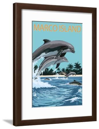 Marco Island - Dolphins Jumping-Lantern Press-Framed Art Print