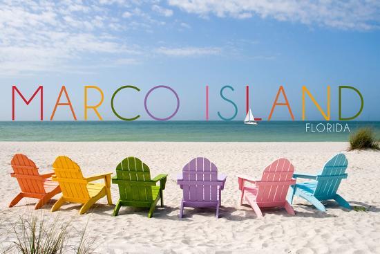 Marco Island, Florida - Colorful Beach Chairs-Lantern Press-Wall Mural