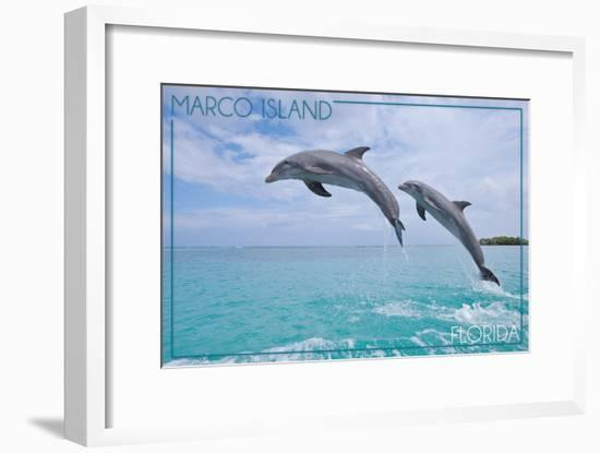 Marco Island, Florida - Jumping Dolphins-Lantern Press-Framed Art Print