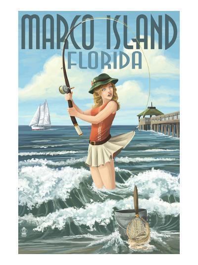 Marco Island, Florida - Pinup Girl Surf Fishing-Lantern Press-Art Print
