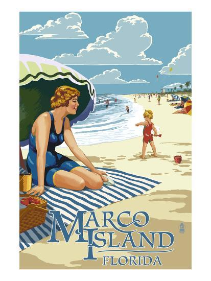 Marco Island, Florida - Woman on Beach-Lantern Press-Art Print