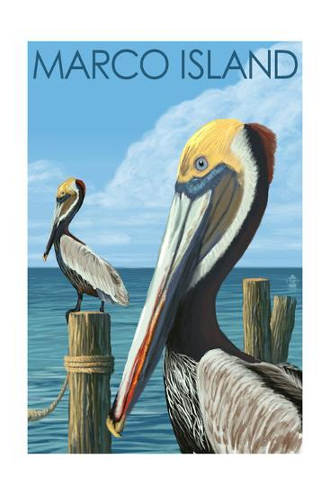 Marco Island - Pelicans-Lantern Press-Art Print