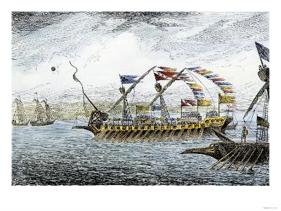Marco Polo Leading the Venetian Ships at Korcula in the Adriatic Sea--Giclee Print