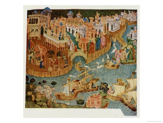 Marco Polo Leaves Venice Almost Certainly on His Second Trip in 1271--Giclee Print