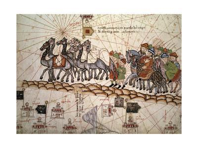 Marco Polo Road to Cathay, Catalan Atlas, Caravan of Travelers-Abraham Cresques-Giclee Print