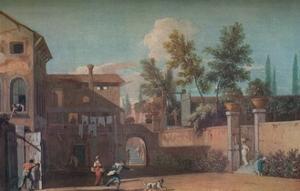 'Courtyard of an Italian Villa', c1700 (1935) by Marco Ricci