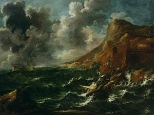 Ships in a Gale, C.1705-08 by Marco Ricci
