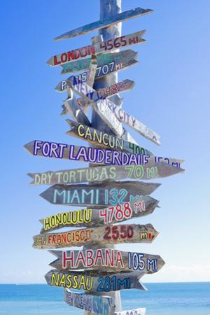 Directions Signpost Near Seaside, Key West, Florida, Usa