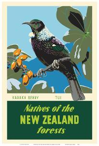 Natives of the New Zealand Forests - Karaka Berry - Tui Bird by Marcus King
