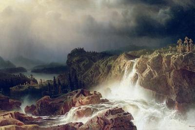 Rocky Landscape with Waterfall in Smaland, 1859