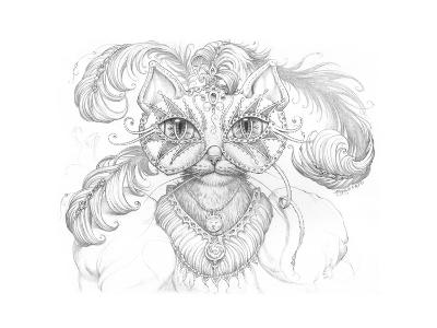 Mardi Gras Cat Pencil-Jeff Haynie-Giclee Print