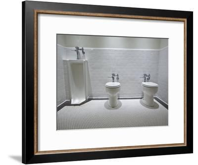 Marfa, Texas.White Tiled Men's Restroom with Two Toilets and One Urinal-Richard Nowitz-Framed Photographic Print
