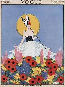 Vogue Cover - January 1915 by Margaret B. Bull