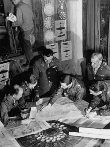 12th Air Force Commanding Officers Going over Maps, Planning Bombing Mission for El Aouina Airfield by Margaret Bourke-White