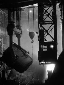 200-Ton Ladle at Work Near Blast Furnace in the Otis Steel Mill by Margaret Bourke-White