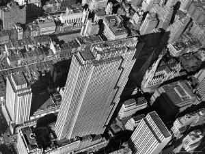 Aerial View Looking Down on 6th Ave. and 50th St. at Towering Rockefeller Center Complex by Margaret Bourke-White